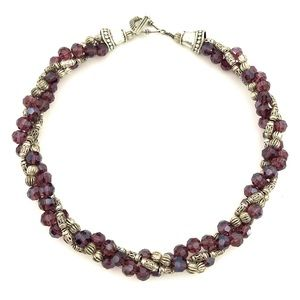 Jewelry - Vintage Purple Silver Beaded Twisted Necklace